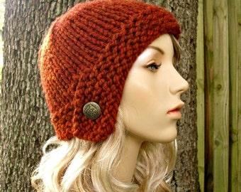 Knit Hat Womens Hat - Cloche Hat in Rust Orange Knit Hat - Burnt Orange Hat Burnt Orange Beanie Womens Accessories Winter Hat