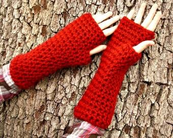 Crocheted Fingerless Gloves Mittens - Red Fingerless Gloves - Red Gloves Red Mittens Red Womens Gloves Womens Accessories