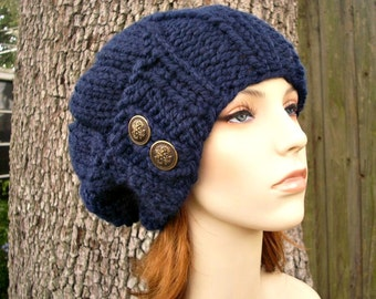 Blue Chunky Womens Hat - Urchin Beret Hat With Button Flap Navy Blue Knit Hat - Blue Hat Blue Beret Navy Hat Navy Beret Womens Accessories