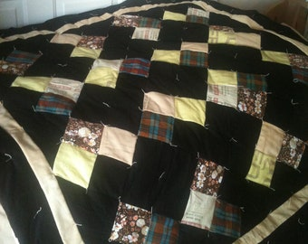 OOAK Funky Modern Shabby Chic Throw Size Hand Tied Scrap Quilt Made From Vintage Feedsack Fabrics