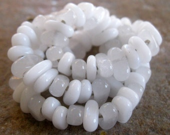 75 Handmade White Lampwork Spacer Beads SRA Chips Nuggets