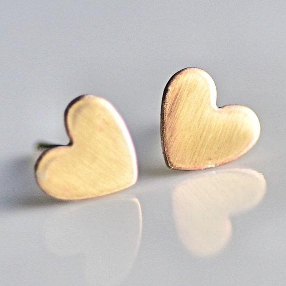 Brass Heart Post Stud Earrings Simple Everyday Earrings