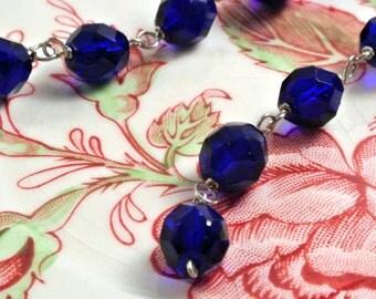 Long Cobalt Blue Slink Earrings
