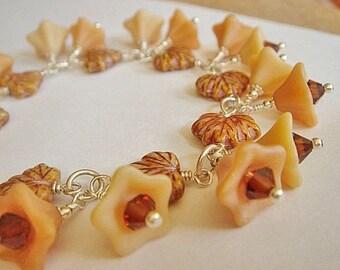 Charm Bracelet,  Czech Bracelet, Beaded Bracelet, Floral Bracelet, Silver Link Bracelet