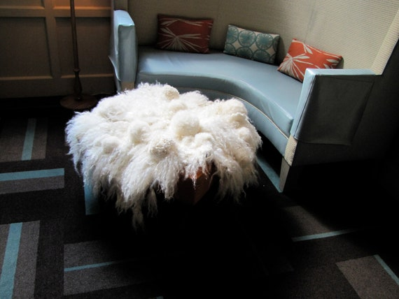 Extra shaggy textured wool felt pelt with curly locks and kid mohair pom poms
