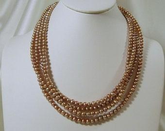 Light Cinnamon Freshwater 4 Strand Necklace
