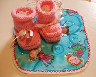 Handknit Baby Booties and Bib - Pink