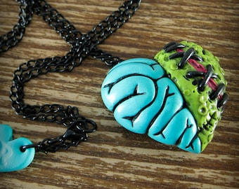 Teal Zombie Heart Locket Necklace