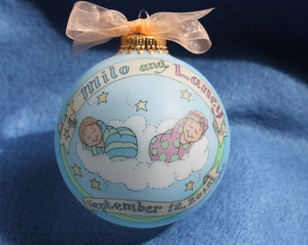 Deluxe Newborn Twins,  Baby Personalized Ornament, Handpainted, Personalized, Customized, Totally Original, WITH DISPLAY STAND