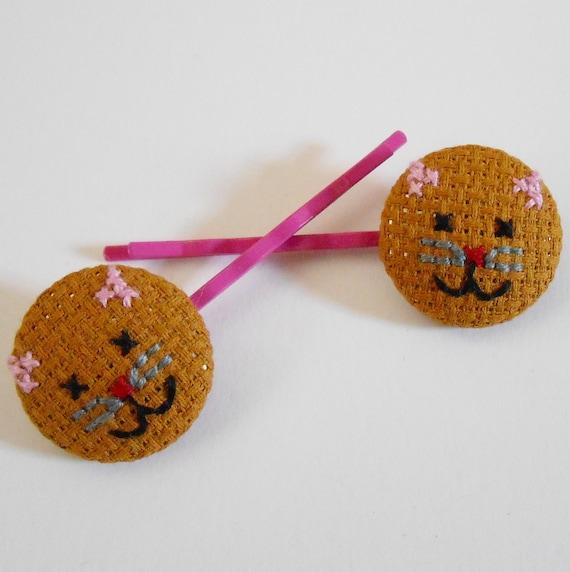 SALE Kitten cross stitch bobby pins