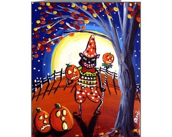 Fall Halloween Vintage Black Cat Whimsical Folk Art Fun Blank Note Cards Pk of 10