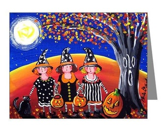 Fall Halloween Witches Black Cat Whimsical Folk Art Fun Blank Note Cards Pk of 10