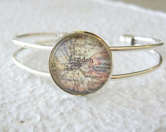 London Map Cuff Bangle Bracelet - London, England - Choose your favorite map from 16 map samples