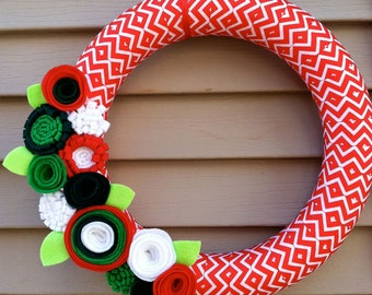 Christmas Wreath wrapped in Red & White Chevron Ribbon decorated w/ felt flowers.  Holiday Wreath - Christmas Wreath - Ribbon Wreath