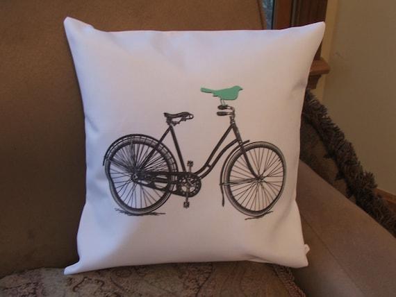 Throw Pillows With Bikes : Items similar to Bicycle pillow cover, graphic throw pillow cover, bird on bike on Etsy