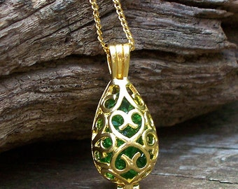 Recycled  Vintage Beer Bottle Emerald and Gold Necklace