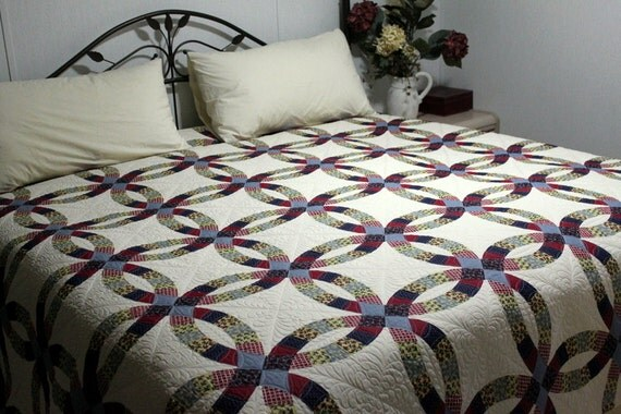 Wholecloth Queen Double Wedding Ring Bed Quilt 85 X