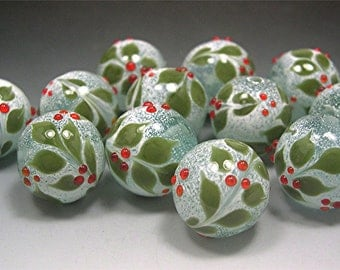 Handmade LAMPWORK HOLLY Glass Beads DONNA Millard sra holly christmas beads berries supplies lamp work winter snow ice