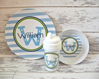 Personalized Blue and White Stripe Plate and Bowl Set - Melamine Children Plate Bowl Cup - Melamine Dinnerware - Dinnerware Set