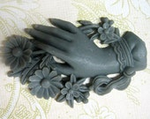 1 grey huge victorian hand and flower cabochon 61x 38mm in gray
