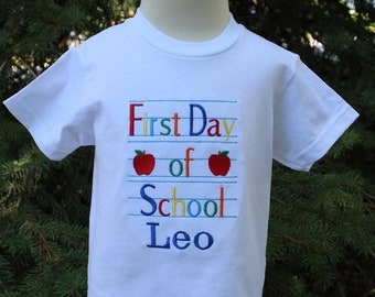 Custom Personalized Boys Girls First Day of School T Shirt Great Gift Great for Pictures