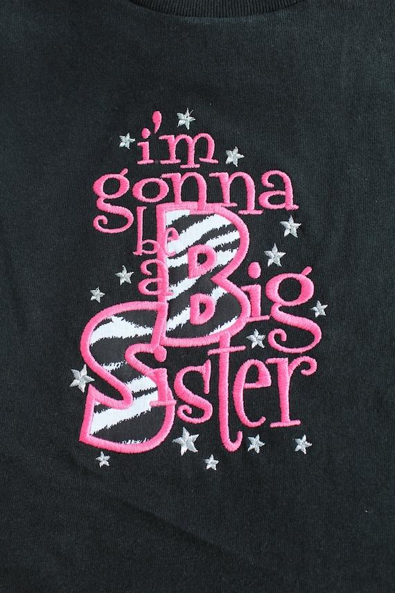 Custom Black Girls Short or Long Sleeve T Shirt Gonna Going To Be A Big Sister Zebra Print Fabric