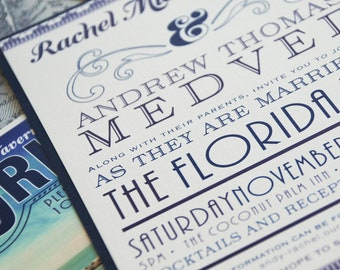 Vintage Florida Typography Wedding Invitation (Florida Keys) - Design Fee