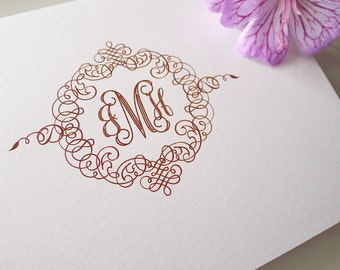 Deluxe Monogram Personalized Folded Note Cards