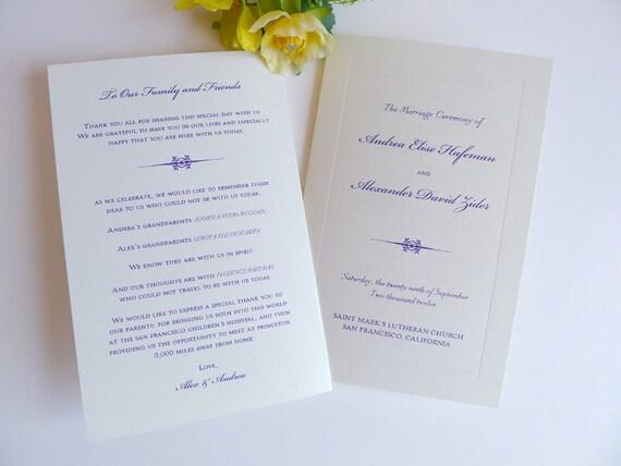Classic Bevel Wedding Ceremony Programs