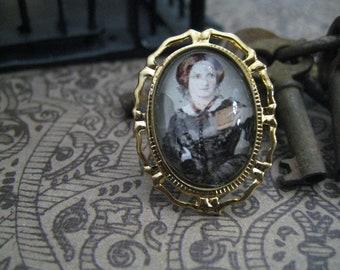 Charlotte Bronte  Literary Ring Golen Tone