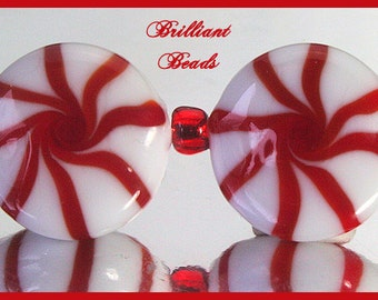Red & White Christmas Peppermint Candy Beads - Handmade Lampwork Pair SRA, Made To Order