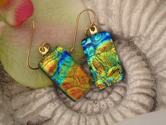 Blue Gold Green Earrings - Rainbow Earrings - Cobblestone Earrings - Dichroic Glass Earrings - Fused  Glass Jewelry - 091412e103