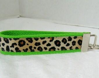 Cheetah Key Chain Animal Print Key Fob Leopard LIME Wristlet