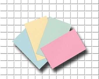 160 Blank Business cards/Name cards/Mini Note cards in Pastel Blue, Pink, Green and Yellow pastel colored