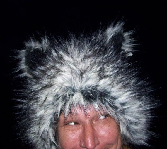Fur Spike Wolf Hat Faux Fur Gray Black Spike Werewolf Spirit Adult Costume Furry Wolf Hat