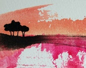 ACEO Original -  Sunset Landscape with Trees
