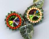 Elegant beaded Brooch . Swarovski Rivoli Crystals . Jade Leaves . Genuine Coral beads - Forever Romantic by enchantedbeads on Etsy