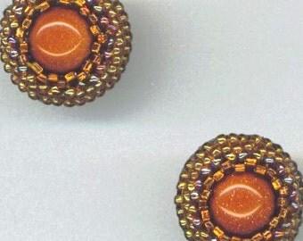 Beadwoven Goldstone Earrings . Beaded Post Earrings . Goldstone Cabochon . Seedbead Lace Beadwork- Golden Gemstone by enchantedbeads on Etsy