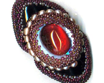 Beaded Onyx Brooch .  Red Cabochon Brooch . Pearls and Seed Bead Brooch . Beadwoven OOAK - The Scarlet  Effect by enchantedbeads on Etsy
