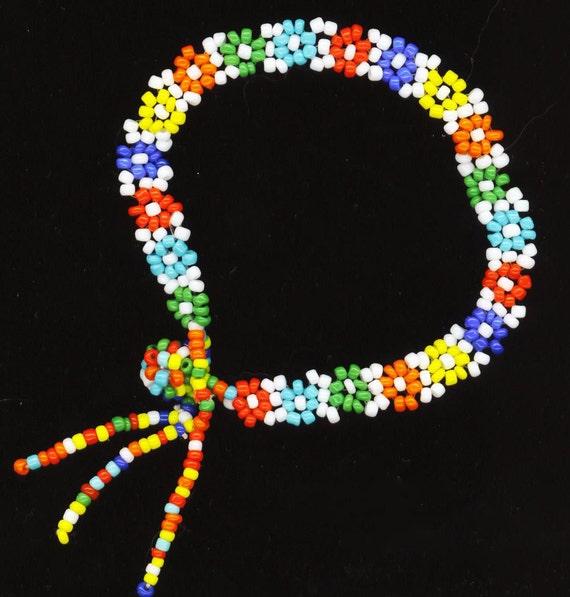 Friendship Bracelet . Beadwoven Floral . Colorful Beaded Bracelet . Daisy daisies . OOAK - Field of Flowers by enchantedbeads on Etsy