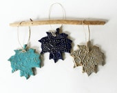 Colorful Hanging Leaves, Set of Three, Holiday Decoration Ornaments