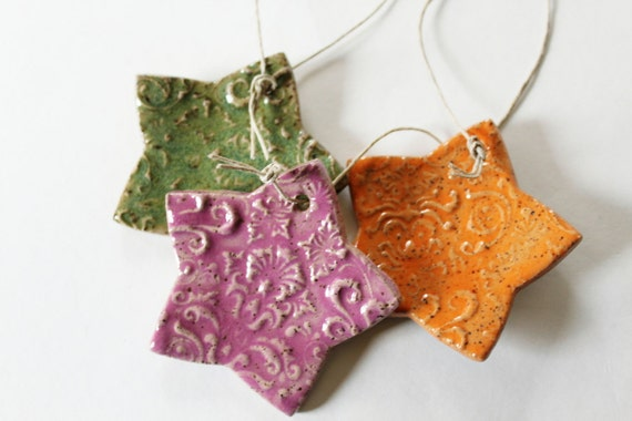 Clay Star Ornaments for Decoration - set of 3