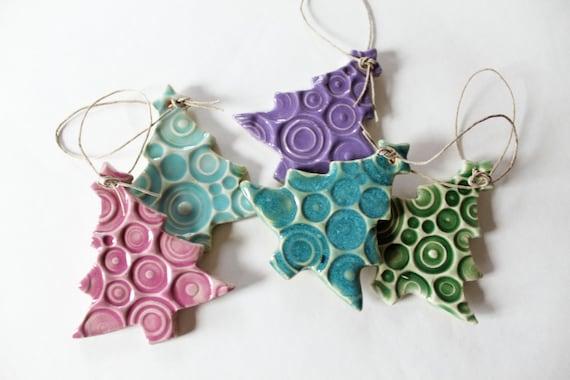 Clay Christmas Tree Ornamentsm Set of 5