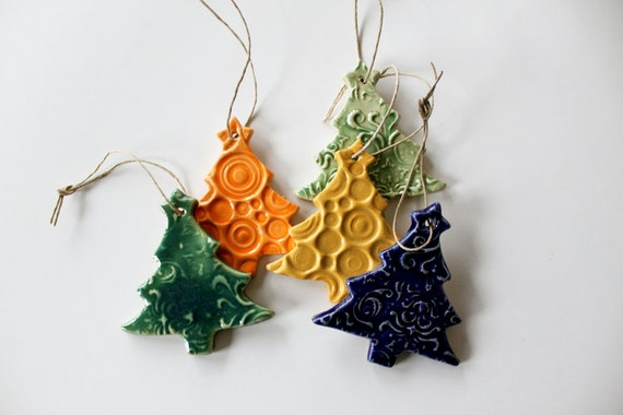 RESERVED for Angela - do not purchase - Set of 5 Christmas Tree Decoration Ornaments