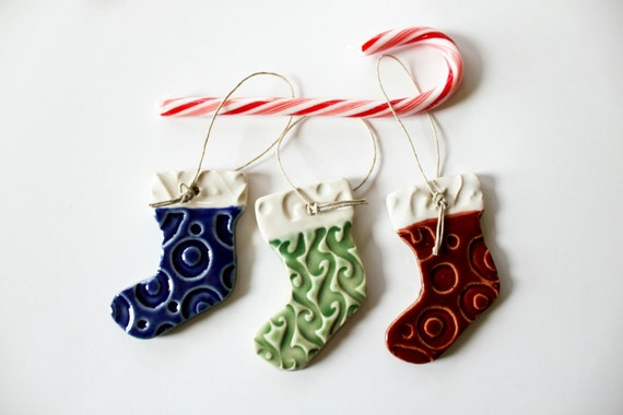 Clay Stocking Ornaments - Set of Three