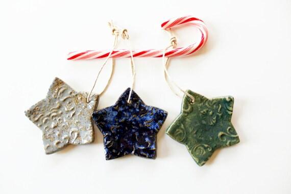 Colorful Star Ornaments  Ceramic Set of 3