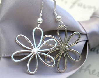 Daisy earrings in Sterling Silver Larger version