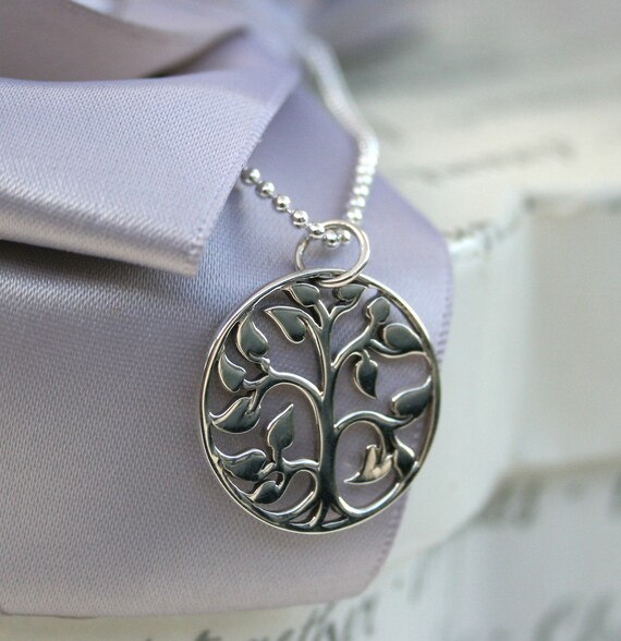 "Tree of Life Necklace Sterling Silver charm with 18"" Sterling chain"