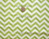 SALE Vanessa Christenson,  Simply Color, Stripe Dotted Zig Zag Lime Green Fabric - Half Yard