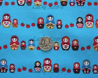 SALE Kawaii Japanese Matryoshka Apple Row Blue Fabric - Half Yard